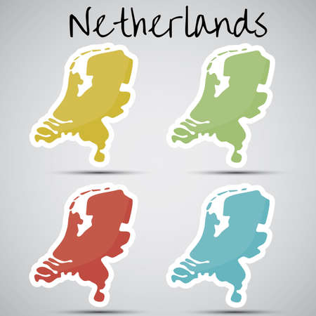 mapa: stickers in form of Netherlands Illustration