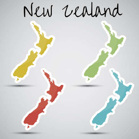 stickers in form of New Zealand Vector