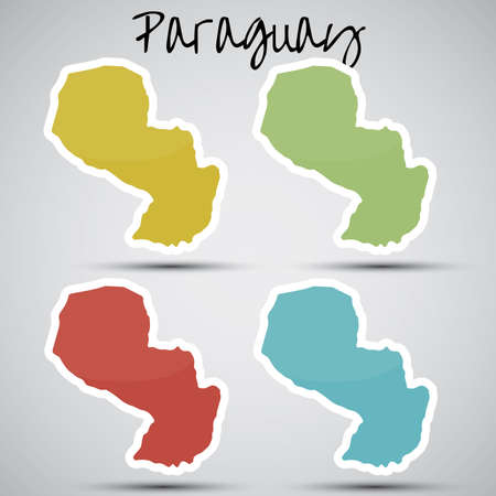 stickers in form of Paraguay Vector