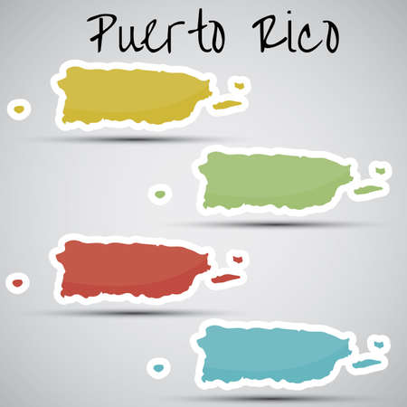 stickers in form of Puerto Rico Vector