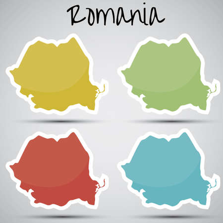 karte: stickers in form of Romania  Illustration
