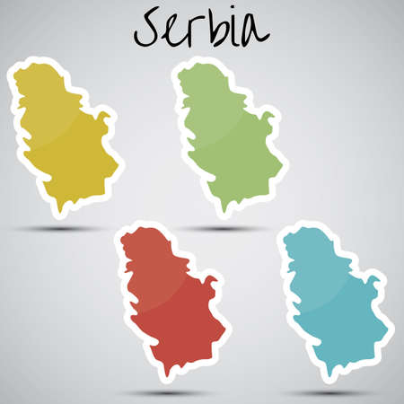 serbia: stickers in form of Serbia