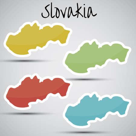 slovakian: stickers in form of Slovakia Illustration