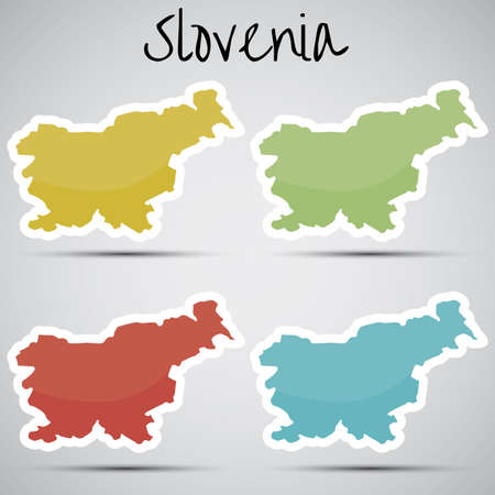 stickers in form of Slovenia Vector