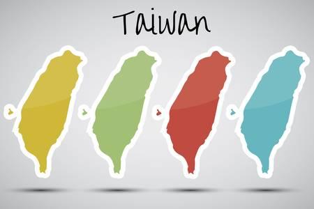 台湾の形のステッカー