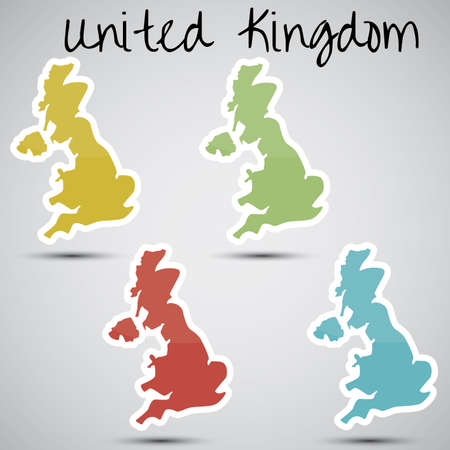 stickers in form of Great Britain  Vector