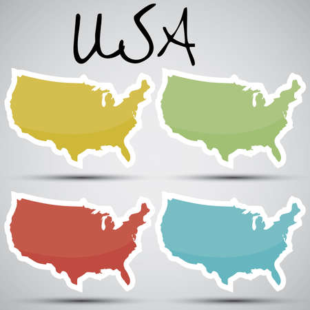 map of the united states: stickers in form of USA