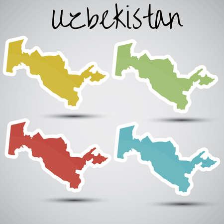 oezbekistan: stickers in de vorm van Oezbekistan