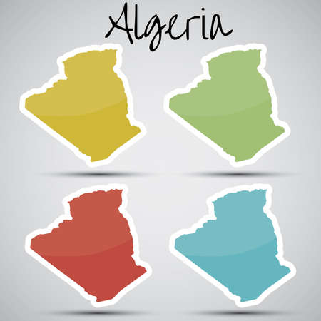 stickers in form of Algeria  Vector