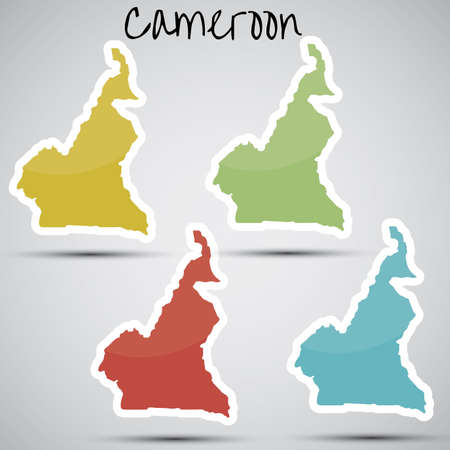 cameroon: stickers in form of Cameroon Illustration