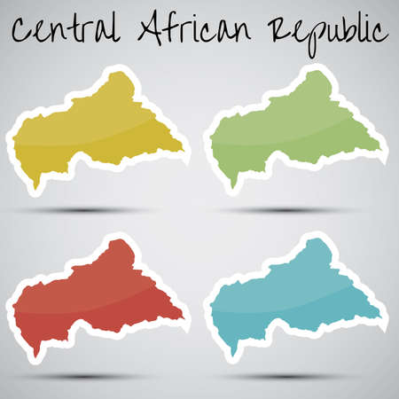 central african republic: stickers in form of Central African Republic Illustration