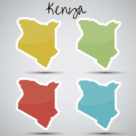 kenya: stickers in form of Kenya