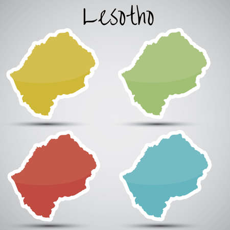 lesotho: stickers in form of Lesotho