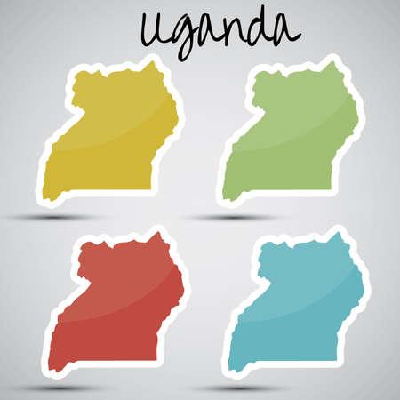 uganda: stickers in form of Uganda