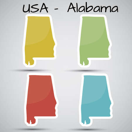birmingham: stickers in form of Alabama state, USA