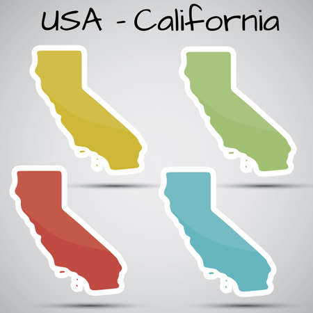 stickers in form of California state, USA Vector