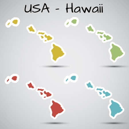 oahu: stickers in form of Hawaii state, USA Illustration