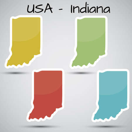 stickers in form of Indiana state, USA Vector