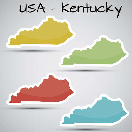 kentucky: stickers in form of Kentucky state, USA