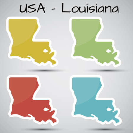 orleans: stickers in form of Louisiana state, USA