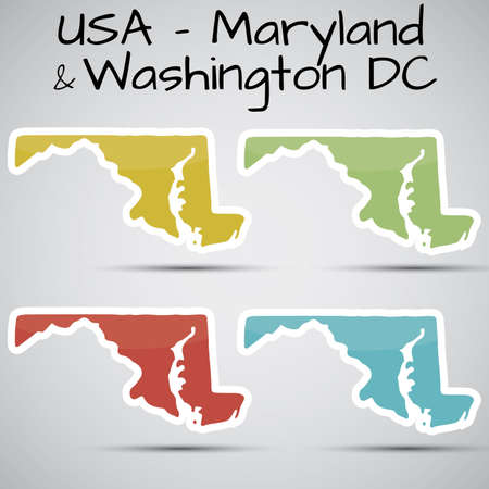 baltimore: stickers in form of Maryland state and washington dc