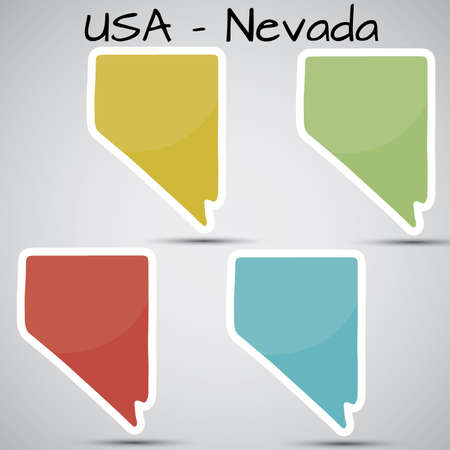 stickers in form of Nevada state, USA Vector