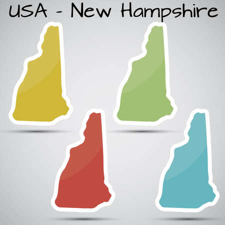 hampshire: stickers in form of New Hampshire state, USA