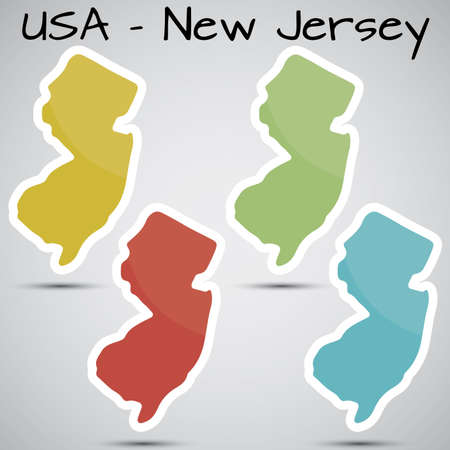 new jersey: stickers in form of New Jersey state, USA