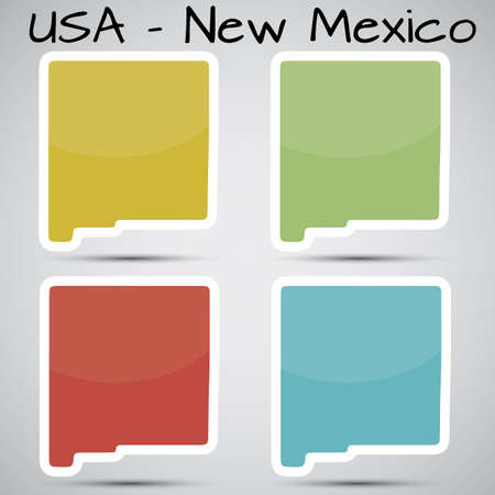 albuquerque: stickers in form of New Mexico state, USA Illustration