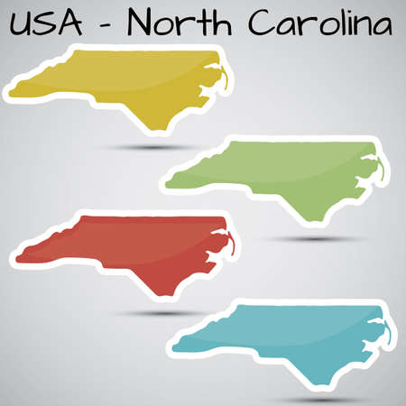 stickers in de vorm van North Carolina staat, USA Stock Illustratie