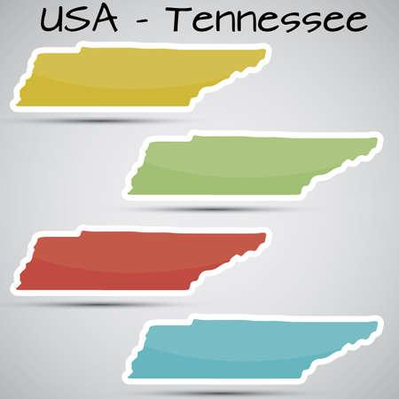 tennesse: pegatinas en forma de estado de Tennessee, EE.UU.