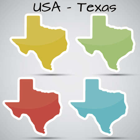 stickers in form of Texas state, USA Vector