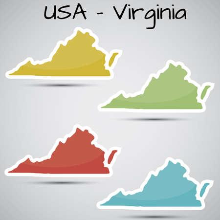 버지니아 주, 미국의 형태로 스티커 일러스트