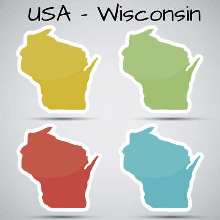 state of wisconsin: stickers in form of Wisconsin state, USA