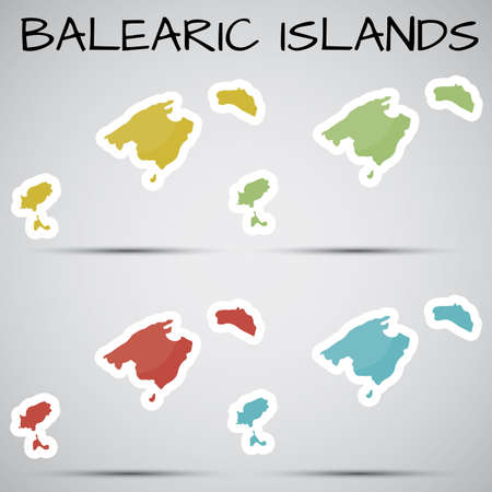 stickers in form of Balearic Islands, Spain Vector