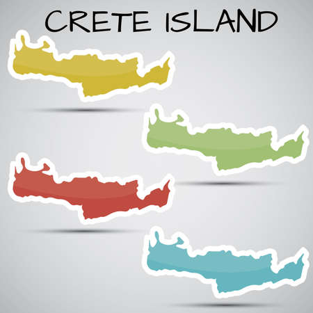 stickers in form of Crete Island, Greece Vector