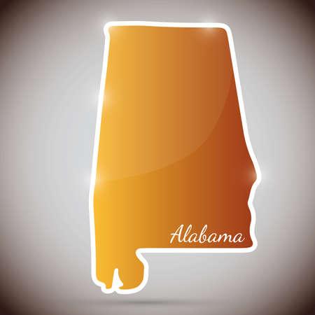 alabama: vintage sticker in form of Alabama state, USA Illustration