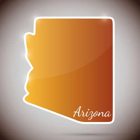 arizona: vintage sticker in form of Arizona state, USA