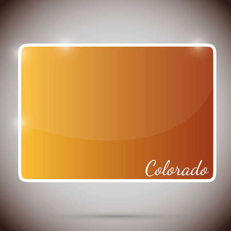 vintage sticker in form of Colorado state, USA Vector