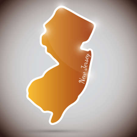 vintage sticker in form of New Jersey state, USA  Illustration