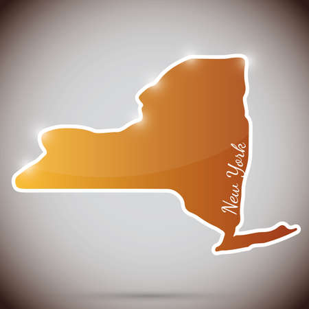 albany: vintage sticker in form of New York state, USA  Illustration
