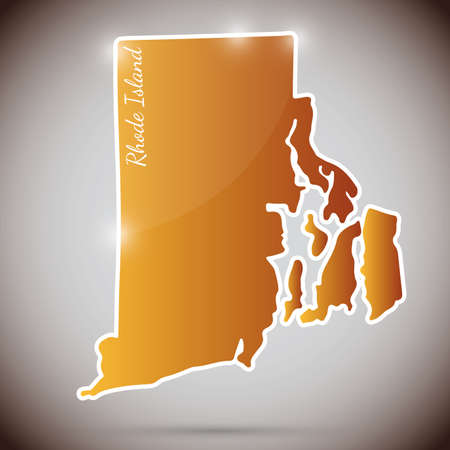 vintage sticker in form of Rhode Island state, USA Vector