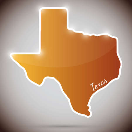 vintage sticker in form of Texas state, USA Illustration