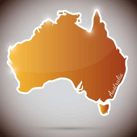 sydney australia: vintage sticker in form of Australia Illustration