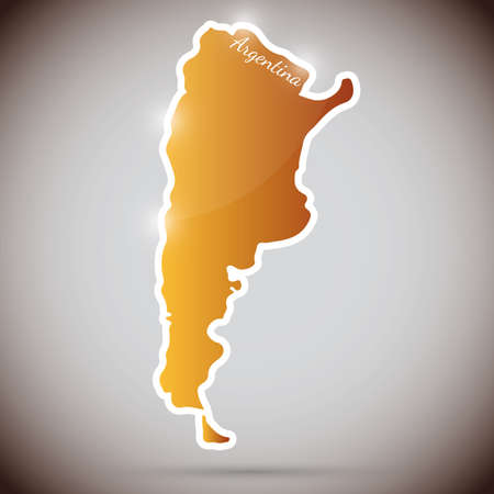 argentina map: vintage sticker in form of Argentina