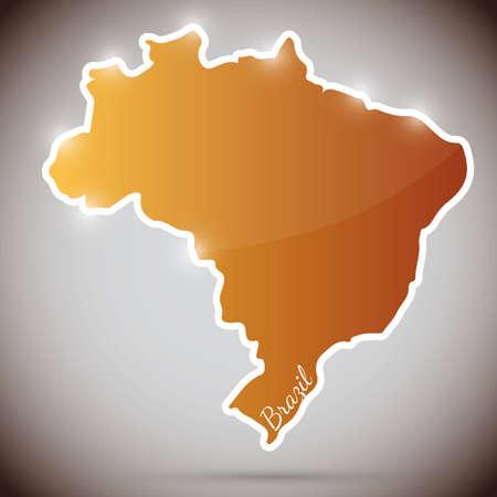 brasilia: vintage sticker in form of Brazil