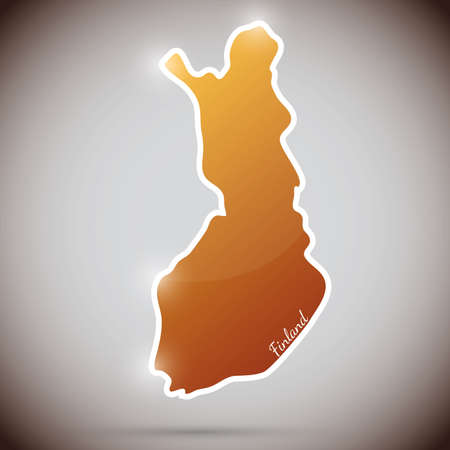 mapa: vintage sticker in form of Finland