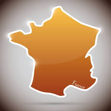 vintage sticker in form of France Vector