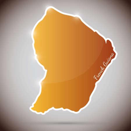 프랑스 기니의 형태로 빈티지 스티커