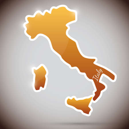 vintage sticker in form of Italy Vector